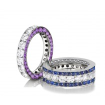 Made to Order Great Selection of Channel Set Brilliant Cut Round Diamonds Purple & Blue SapphireEternity Rings & Bands