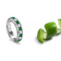 Foliate Scrolls & Motifs Engraved Emerald and Diamond Gold Ring