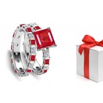 Fascinating: Princess Cut Ruby & Diamond Engagement Ring & Matching Band