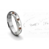 Burnish Set Heart Brown Diamond Eternity Ring