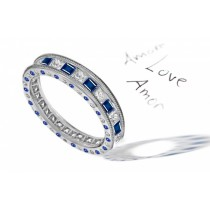 Princess Cut Sapphire & Diamond Eternity Halo Gold Wedding Ring