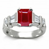 Ruby Anniversary Rings: Ruby Octogon and Side Diamonds Engagement Ring