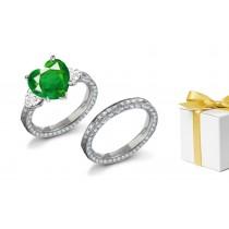 Endless Love 3 StoneSquare Natural Emerald & HeartDiamond Halo Ring & Matching Genuine Diamond Halo Gold Band