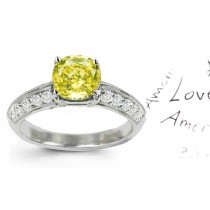 Premier Colored Diamonds Designer Collection - Yellow Colored Diamonds & White Diamonds Fancy Yellow Diamond Engagement Rings