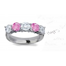 Pink Sapphire & White Diamond Wedding Rings