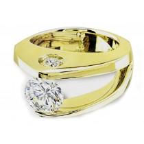 Platinum Gold Diamond Tension Ring