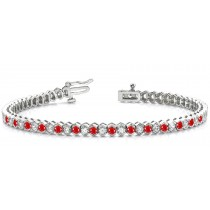 Circles of Ruby & Diamond Link Bracelet