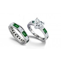 Heart Diamond & Baguette Diamond & Emerald Engagement Ring & Matching Platinum Wedding Band