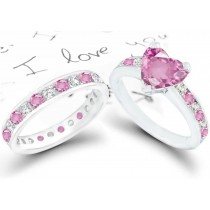 Heart Pink Sapphire & Diamond Engagement Ring & Wedding Ring