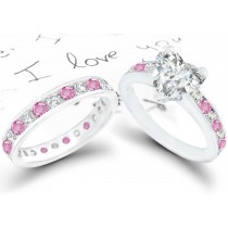 Heart Diamond & Pink Sapphire Engagement & Wedding Rings