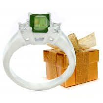 Emerald-Cut Green Sapphire Three Stone Engagement Ring with Emerald-Cut Diamonds in 14k White Gold