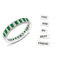 Certified Baguette Diamond & Baguette Emerald Ring in 1 to 5 cts & Platinum