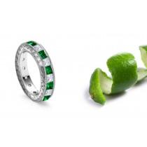 14k White Gold Intricate Hand Engraved Emerald Diamond Georgian Ring