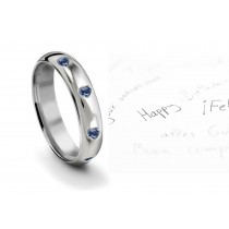 Burnish Set Heart Blue Diamond Eternity Ring