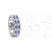 Teal Blue Sapphire & Diamond Double Row Channel Set Eternity Ring
