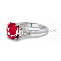 Ruby Engagement Ring: Platinum ruby oval ruby and diamond pears three stone anniversary ring
