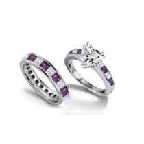 Heart Diamond & Princess Cut Sapphire & Diamond Accents Engagement Ring & Wedding Band