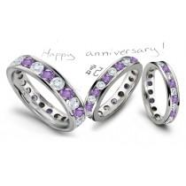 Round Diamond & Round Purple Sapphire Full Eternity Band