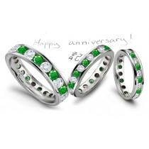 Strikingly Elegant: Channel Set Diamond & Emerald Eternity Wedding Band in Platinum