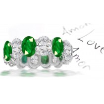 Forest Green Vibrant Green Oval Cut Diamond & Oval Emerald Eternity Ring