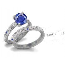 Regal Gems: Star Burnish Set Filigree German Cut Deep Blue Saphire Tiffany Style Diamond Ring in 14k White Gold & Silver