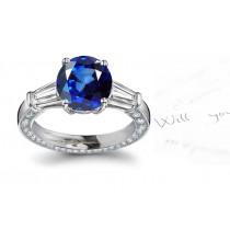 A Great Favorite: 3 Stone Fine Blue Sapphire & Baguette White Diamond Gold Ring in 14k Pure White Russian Platinum Silver