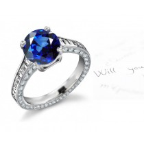 Pyramids of Egypt: Great Value Channel Set Fine Blue Diamonds & Sapphires Ring Fabricated in 14k White Gold, Platinum & Silver