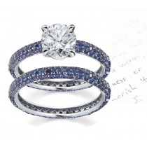 Her Noble Sapphire Stories: Peculiar French Pave' Sapphire Collection Diamond Ring in 14k White Gold, 925 Silver, Platinum