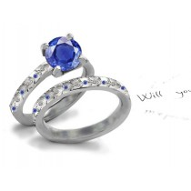 Treasures of Nature: In Demand Burnish Set Filigree Deep Blue Sapphire Classic Style Diamond Ring in 14k White Gold & Silver