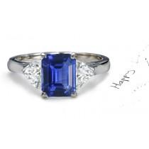 Birth & Alternate Stones: Top 3 Stone Heart Diamond & Emerald Cut 2 Side Stones Fine Blue Sapphire Ring in Gold Size 6