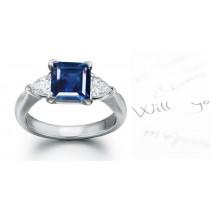 Celestial Sapphires: 3 Stone Pear Shape Sapphire Princess Cut Diamond Ring in 14k Gold