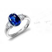 Popular Ornaments: 18k 3 Stone Translucent Oval Fine Blue Sapphire & Shield Cut Diamond Created Ring Size 3 - 6 Emerald