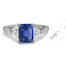 The King's Treasure: Top 3 Stone Emerald Cut Fine Blue Sapphire & Trillion Diamond 2 Side Stones Celestial Ring