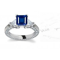 Blazing Fine Blue Sapphires: Musical 3 Stone Square Sapphire & Trillion Diamond Ring with Diamonds Sprinkled in Front