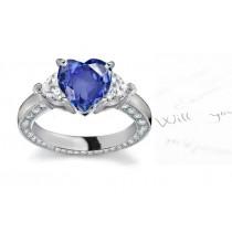 3 Stone Popular Heart Shape Fine Blue Sapphire & Heart Diamond Ring with Diamonds