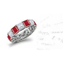 Dazzling: Prong Set Square Ruby & Princess Cut Diamond Eternity Ring