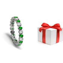Sparkling: Deep Rich Green, crystal Clear Emerald & Diamond Eternity Ring in Platinum