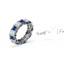 Sparkling: Princess Cut Blue Sapphire and Diamond Bar Set Eternity Wedding Ring
