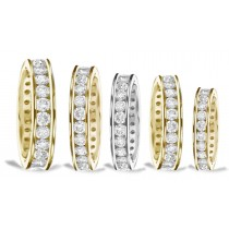 Gold Channel Diamond Anniversary Rings