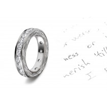 Stunningly Original Ring Design: View This Diamond Wedding Band Surrounded with Hand Engraved