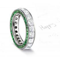 Micro pave Halo Round Cut Diamond & Lush Green EmeraldEternity Rings