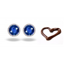 Recently Manufacture Designer Colored Gemstone Jewelry: Blue Sapphire & Diamond Studded Earrings