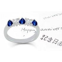 Gold 5 Stone Very Popular Heart Sapphire Heart Shaped Diamond Wedding Anniversary Volume Ring