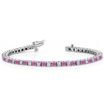 Sapphire Diamond Tennis Bracelets: Platinum Round Pink Sapphire and Diamond Tennis Bracelet