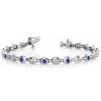 Circles of Sapphire & Diamond Bangle Flexible Bracelet With Interchangeable Clasps Lock & Key