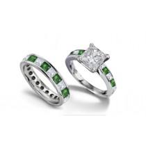 Princess Cut Diamond & Emerald Engagement Ring & Diamond Emerald Band