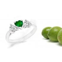 Ladies Three-stone Half Hoop Rings: Center Heart Diamond & Side Heart Emerald 2 Side Stone Anniversary Hoop Ring