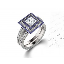 Delicate Micro Pave Halo Vivid Blue Sapphires & Brilliant-Cut Round Diamonds Designer Engagement Rings