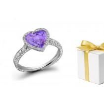 Happiness:Purple Sapphire & White Diamond Micro Pave Ring