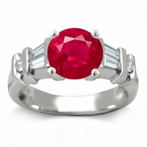 Ruby Anniversary Rings: Ruby Octagon and Diamond Trillions Ring in Platinum